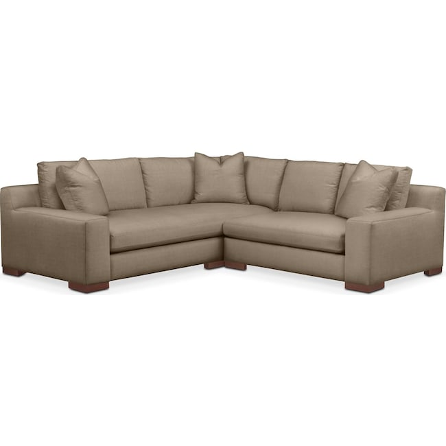 Living Room Furniture - Ethan 2 Pc. Sectional with Right Arm Facing Loveseat- Comfort in Statley L Mondo