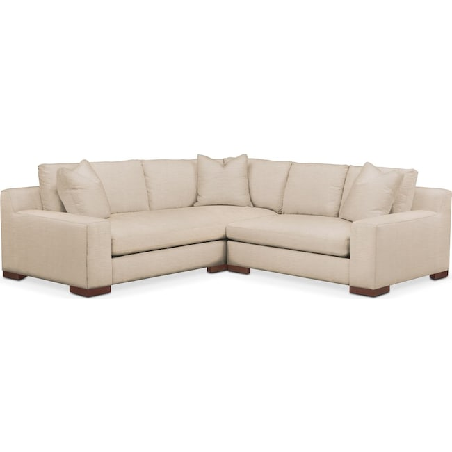 Living Room Furniture - Ethan 2 Pc. Sectional with Right Arm Facing Loveseat- Comfort in Dudley Buff