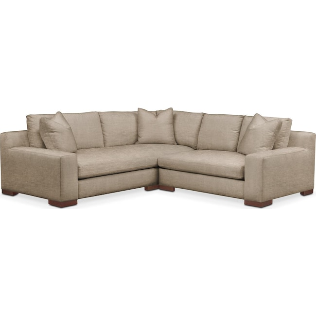 Living Room Furniture - Ethan 2 Pc. Sectional with Right Arm Facing Loveseat- Comfort in Dudley Burlap