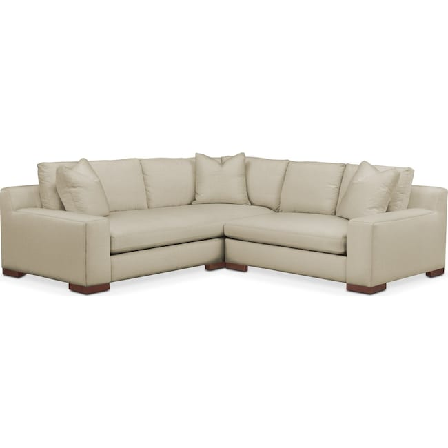 Living Room Furniture - Ethan 2 Pc. Sectional with Right Arm Facing Loveseat- Comfort in Abington TW Barley