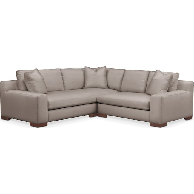 Living Room Furniture - Ethan 2 Pc. Sectional with Right Arm Facing Loveseat- Comfort in Abington TW Fog