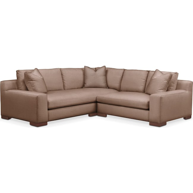 Living Room Furniture - Ethan 2 Pc. Sectional with Right Arm Facing Loveseat- Comfort in Abington TW Antler