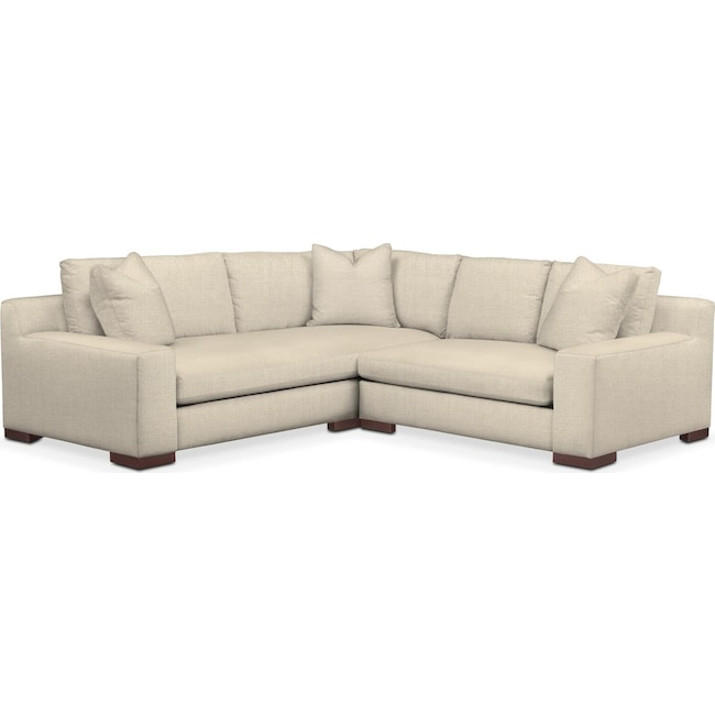 Living Room Furniture - Ethan 2 Pc. Sectional with Right Arm Facing Loveseat- Comfort in Anders Cloud