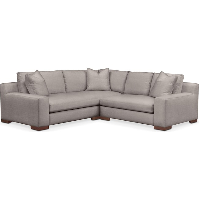 Living Room Furniture - Ethan 2 Pc. Sectional with Right Arm Facing Loveseat- Cumulus in Curious Silver Rine