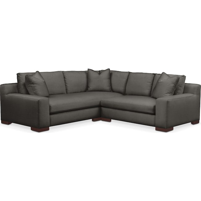 Living Room Furniture - Ethan 2 Pc. Sectional with Right Arm Facing Loveseat- Cumulus in Statley L Sterling
