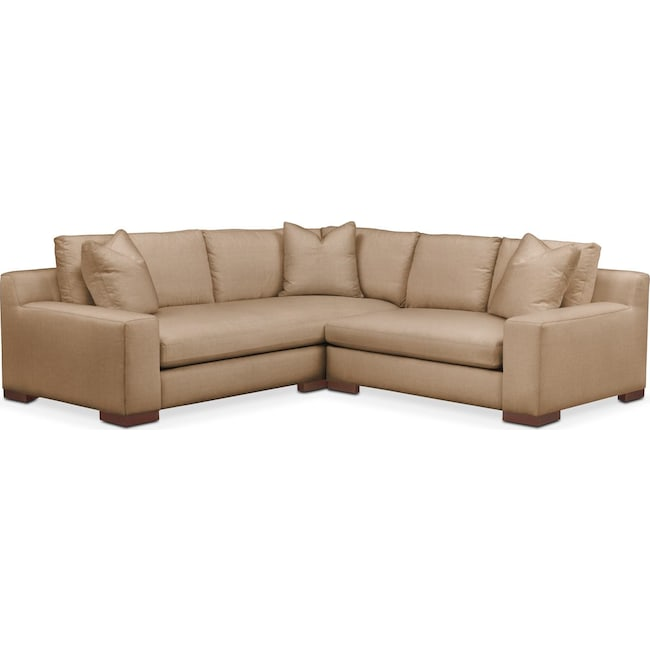 Living Room Furniture - Ethan 2-Piece Sectional with Right-Facing Loveseat - Cumulus in Hugo Camel
