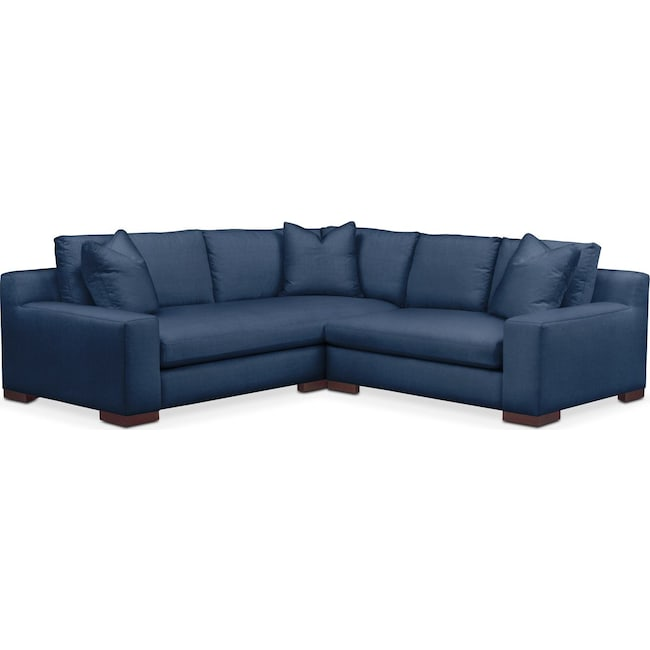 Living Room Furniture - Ethan 2 Pc. Sectional with Right Arm Facing Loveseat- Cumulus in Hugo Indigo