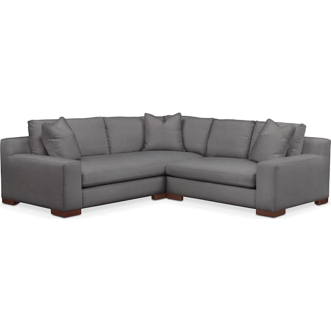 Living Room Furniture - Ethan 2-Piece Sectional with Right-Facing Loveseat - Cumulus in Hugo Graphite