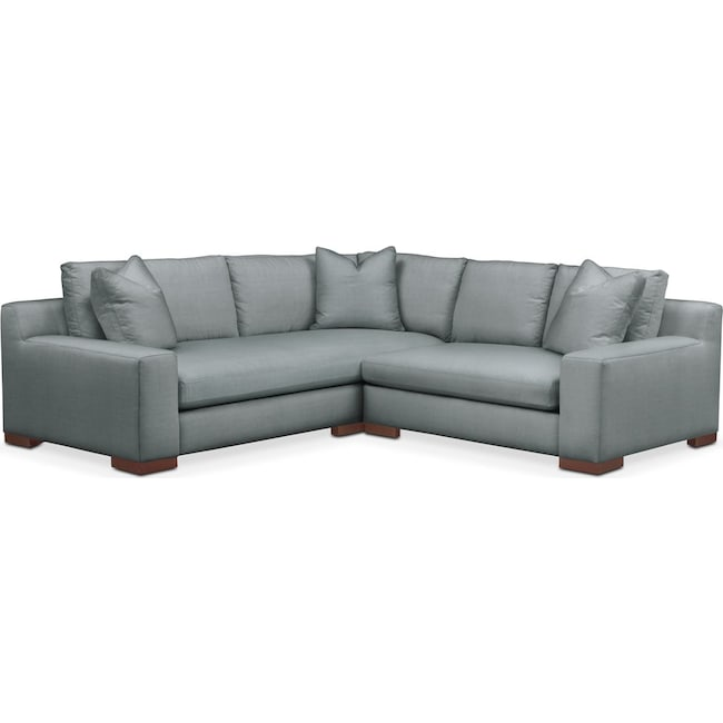Living Room Furniture - Ethan 2 Pc. Sectional with Right Arm Facing Loveseat- Cumulus in Abington TW Seven Seas