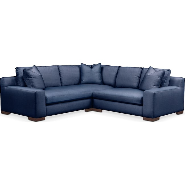 Living Room Furniture - Ethan 2-Piece Sectional with Right-Facing Loveseat - Cumulus in Abington TW Indigo