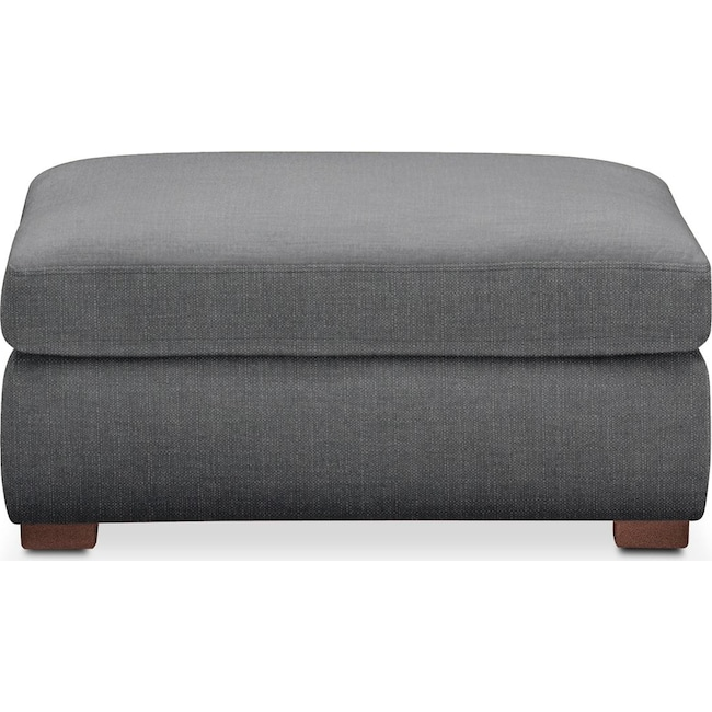 Living Room Furniture - Asher Ottoman- Comfort in Depalma Charcoal