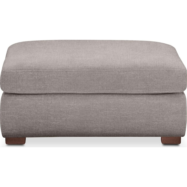 Living Room Furniture - Asher Ottoman- Comfort in Curious Silver Rine