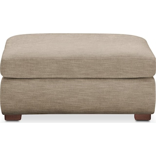 Asher Ottoman- Comfort in Dudley Burlap