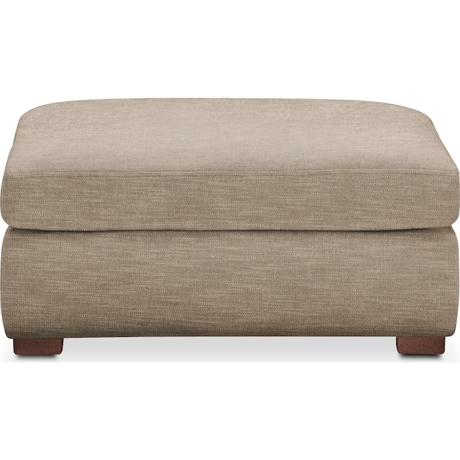 Living Room Furniture - Asher Ottoman- Comfort in Dudley Burlap