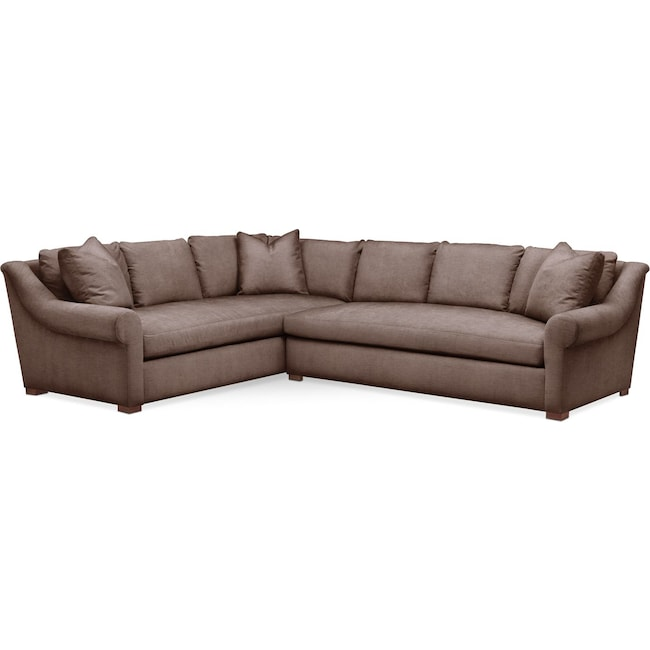 Living Room Furniture - Asher 2-Piece Sectional with Right-Facing Sofa - Comfort in Oakley III Java