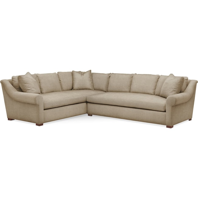 Living Room Furniture - Asher 2 Pc. Sectional with Right Arm Facing Sofa- Comfort in Milford II Toast