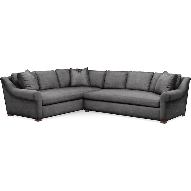 Living Room Furniture - Asher 2-Piece Sectional with Right-Facing Sofa - Comfort in Curious Charcoal