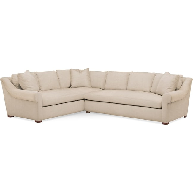 Living Room Furniture - Asher 2 Pc. Sectional with Right Arm Facing Sofa- Comfort in Dudley Buff