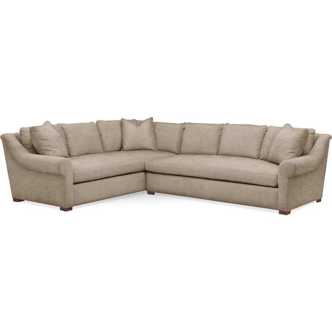 Living Room Furniture - Asher 2-Piece Sectional with Right-Facing Sofa - Comfort in Dudley Burlap