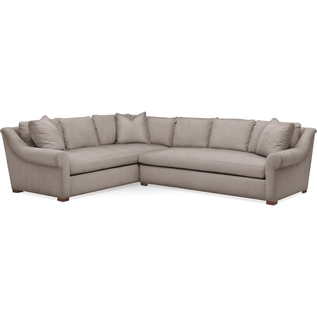 Living Room Furniture - Asher 2 Pc. Sectional with Right Arm Facing Sofa- Comfort in Abington TW Fog