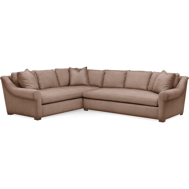 Living Room Furniture - Asher 2 Pc. Sectional with Right Arm Facing Sofa- Comfort in Abington TW Antler