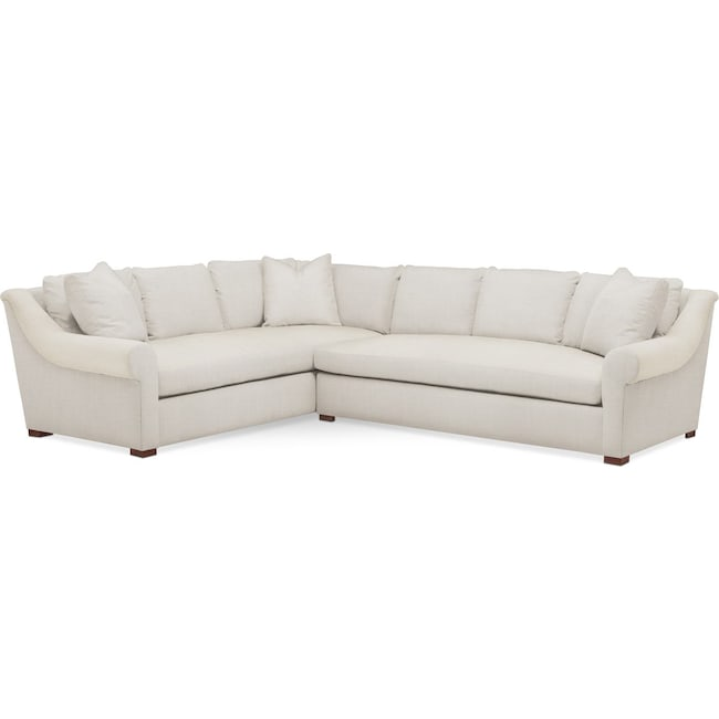 Living Room Furniture - Asher 2 Pc. Sectional with Right Arm Facing Sofa- Comfort in Anders Ivory