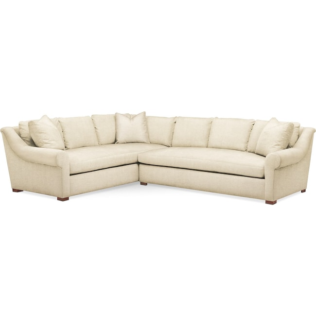 Living Room Furniture - Asher 2 Pc. Sectional with Right Arm Facing Sofa- Comfort in Anders Cloud