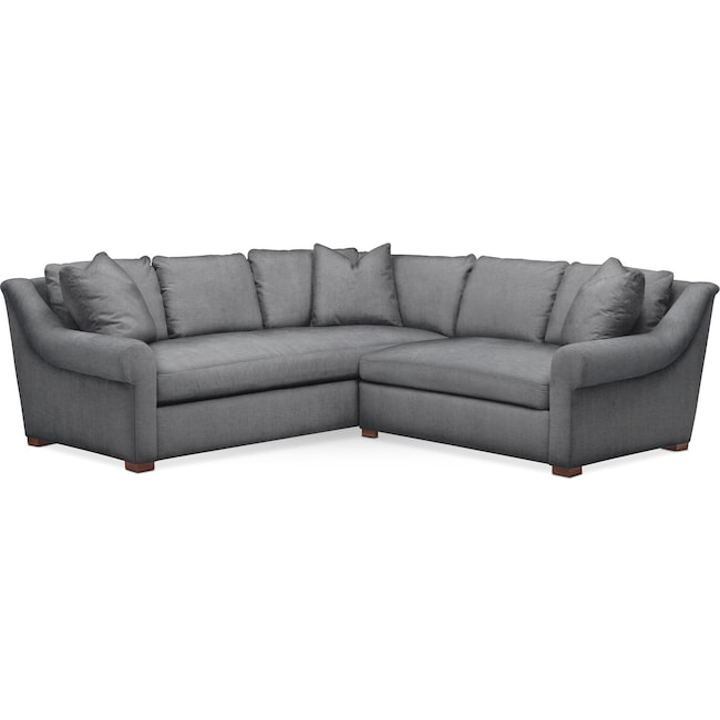 Living Room Furniture - Asher 2 Pc. Sectional with Right Arm Facing Loveseat- Comfort in Depalma Charcoal