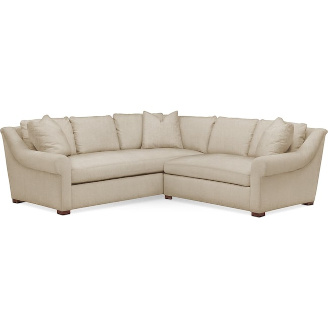 Living Room Furniture - Asher 2 Pc. Sectional with Right Arm Facing Loveseat- Comfort in Depalma Taupe