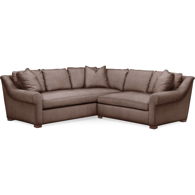 Living Room Furniture - Asher 2 Pc. Sectional with Right Arm Facing Loveseat- Comfort in Oakley III Java