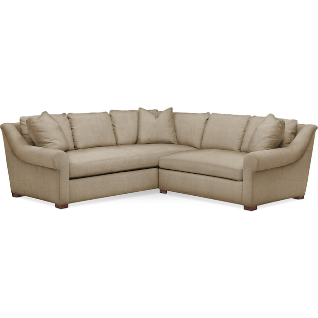 Living Room Furniture - Asher 2 Pc. Sectional with Right Arm Facing Loveseat- Comfort in Milford II Toast
