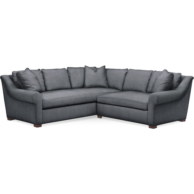 Living Room Furniture - Asher 2-Piece Sectional with Right-Facing Loveseat - Comfort in Milford II Charcoal