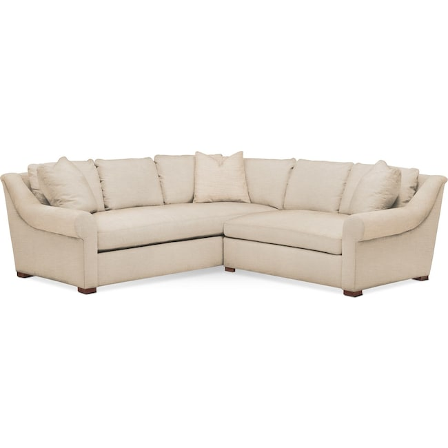 Living Room Furniture - Asher 2-Piece Sectional with Right-Facing Loveseat - Comfort in Victory Ivory