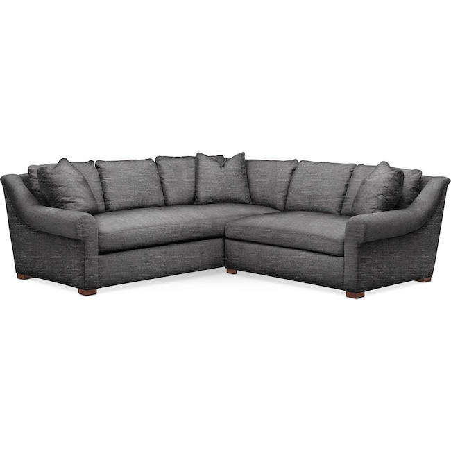 Living Room Furniture - Asher 2 Pc. Sectional with Right Arm Facing Loveseat- Comfort in Curious Charcoal