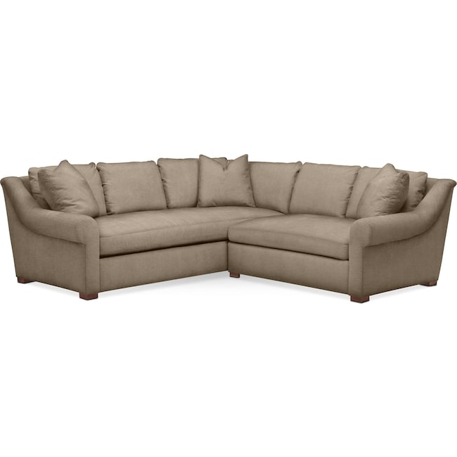 Living Room Furniture - Asher 2 Pc. Sectional with Right Arm Facing Loveseat- Comfort in Statley L Mondo