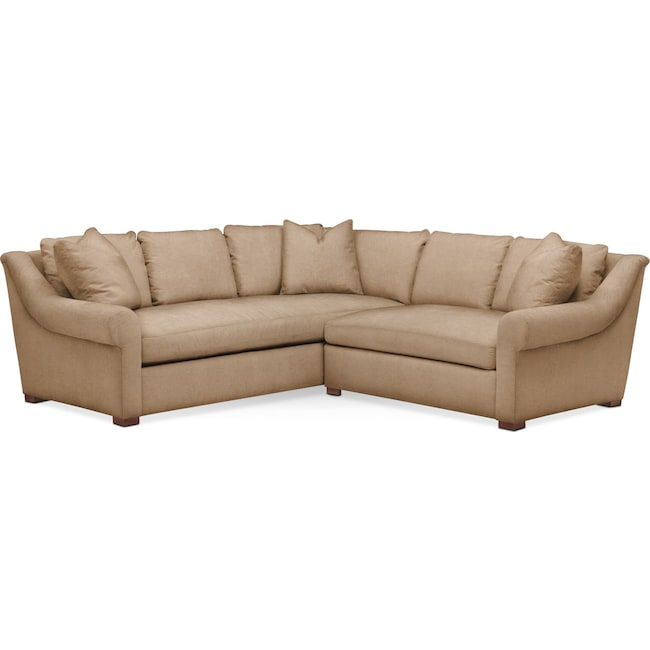 Living Room Furniture - Asher 2 Pc. Sectional with Right Arm Facing Loveseat- Comfort in Hugo Camel