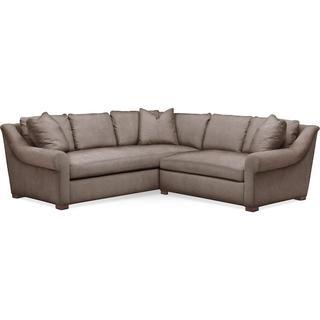 Living Room Furniture - Asher 2 Pc. Sectional with Right Arm Facing Loveseat- Comfort in Hugo Mocha