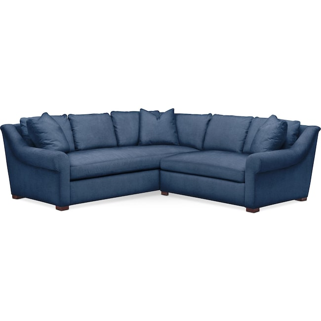 Living Room Furniture - Asher 2 Pc. Sectional with Right Arm Facing Loveseat- Comfort in Hugo Indigo