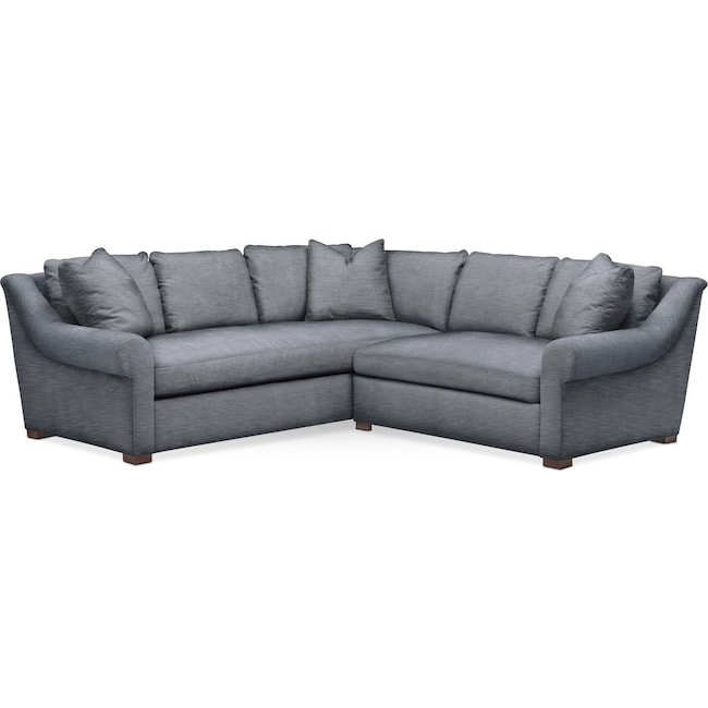 Living Room Furniture - Asher 2 Pc. Sectional with Right Arm Facing Loveseat- Comfort in Dudley Indigo