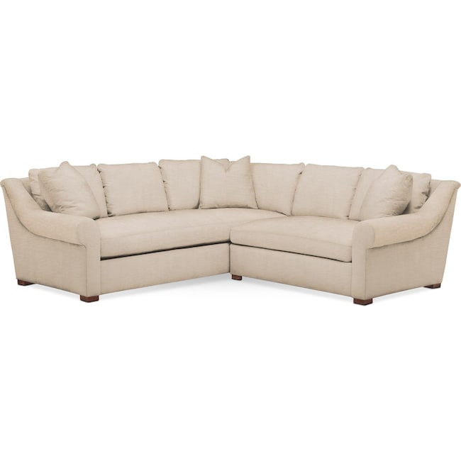 Living Room Furniture - Asher 2 Pc. Sectional with Right Arm Facing Loveseat- Comfort in Dudley Buff