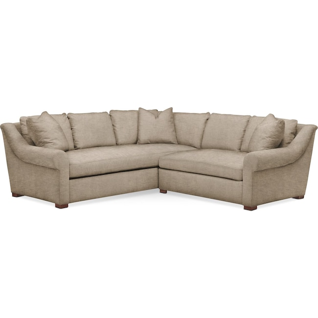 Living Room Furniture - Asher 2-Piece Sectional with Right-Facing Loveseat - Comfort in Dudley Burlap