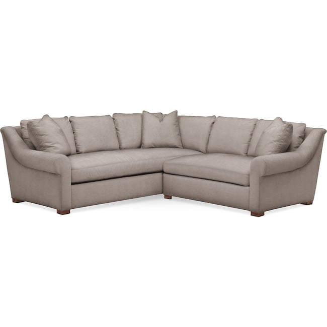Living Room Furniture - Asher 2 Pc. Sectional with Right Arm Facing Loveseat- Comfort in Abington TW Fog