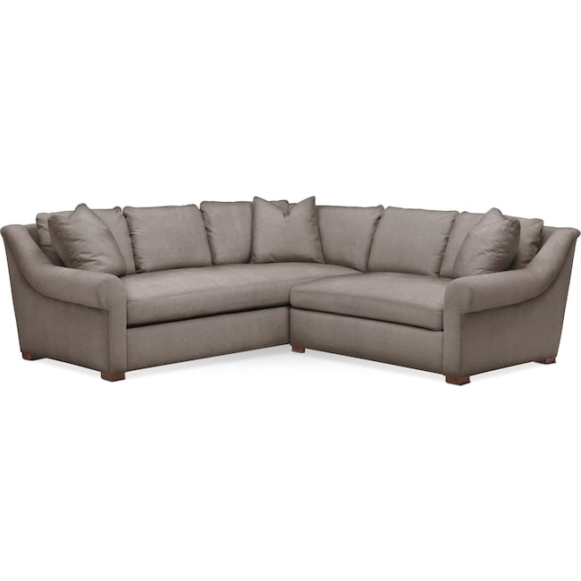 Living Room Furniture - Asher 2 Pc. Sectional with Right Arm Facing Loveseat- Cumulus in Oakley III Granite