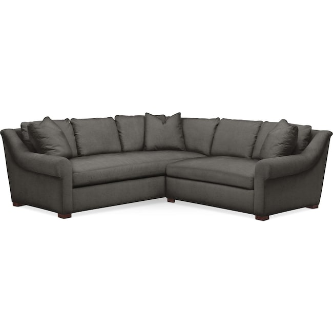 Living Room Furniture - Asher 2 Pc. Sectional with Right Arm Facing Loveseat- Cumulus in Statley L Sterling
