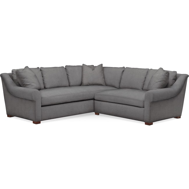 Living Room Furniture - Asher 2 Pc. Sectional with Right Arm Facing Loveseat- Cumulus in Hugo Graphite