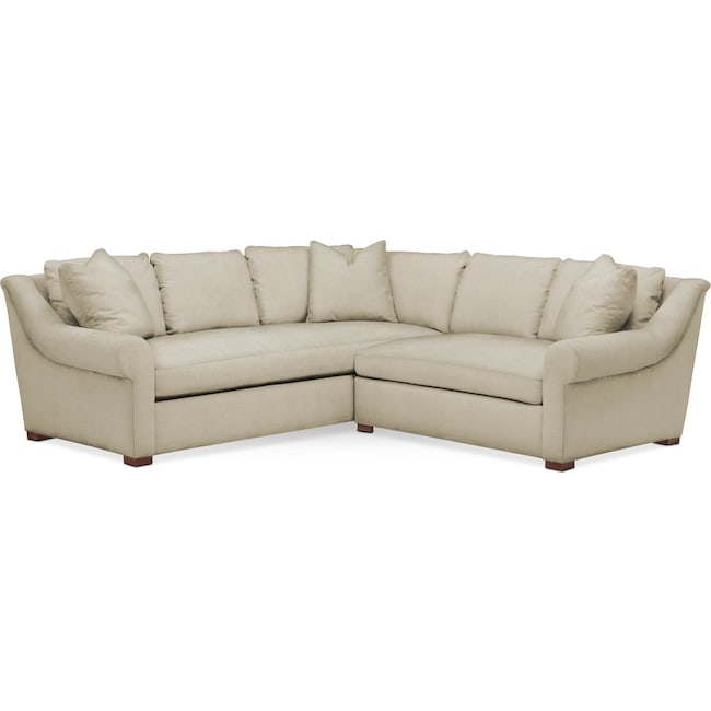 Living Room Furniture - Asher 2 Pc. Sectional with Right Arm Facing Loveseat- Cumulus in Abington TW Barley