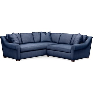 Asher 2 Pc. Sectional with Right Arm Facing Loveseat- Cumulus in Abington TW Indigo