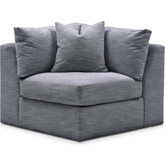 Living Room Furniture - Collin Corner Chair- Comfort in Dudley Indigo