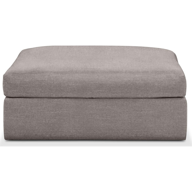 Living Room Furniture - Collin Ottoman- Comfort in Curious Silver Rine