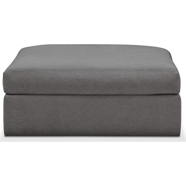 Living Room Furniture - Collin Ottoman- Comfort in Hugo Graphite